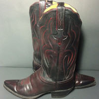 LUCCHESE Burgundy Leather Western Cowboy Boots Women's Size 8