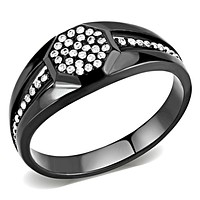 Mens Stainless Steel Rings DA282 Black - Stainless Steel Ring with CZ
