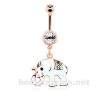White Good Luck Ganesh Rose Gold Elephant Belly Button Ring 14ga Navel Ring Body Jewelry