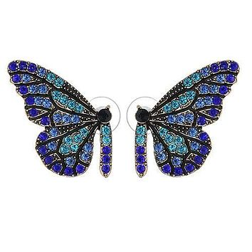 Blue Swarovski & Pearl Butterfly Stud Floral Earrings