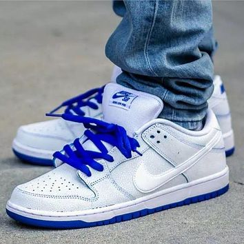 NIKE SB DUNK LOW white and blue burst crack low-top sports running shoes