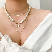 Hip Hop Multi-layer Imitation Pearls Chain Necklace