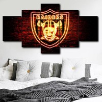 Poster Wall Artist Residence Decoration Modern 5 Panel Oakland Raiders Sport Logo HD Print Painting Modular Picture Canvas