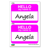 Angela Hello My Name Is - Sheet of 2 Stickers