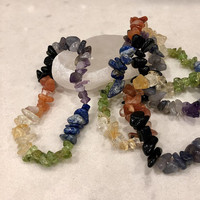 """SALE**SALE**Seven Layer Chakra Gemstone Chip Bracelet 7""""-7.5""""  (One)  Free Bag & Affirmation Card.  FREE Shipping with another item."""