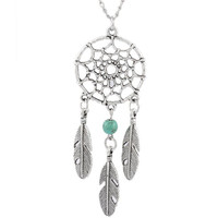 Women's Dangling Feather Turquoise Charms Filigree Tribal Dreamcatcher Pendant Chain Necklace