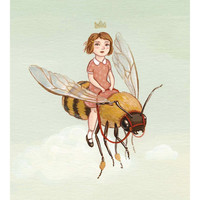 Girl and Bee Print - The Little Queen Illustration