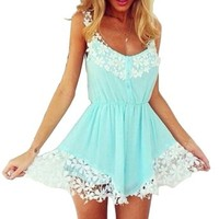 2015 Sexy Women Ladies Lace Chiffon Spaghetti Strap Mini Dress