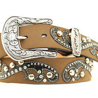 Ariat Women's Western Croc Print Overlay Brown Leather Belt