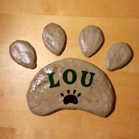 Pet Grave Marker, Pet Memorial Stone, Cat Memorial, Dog Memorial, Paw Print Stepping Stone