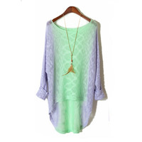 funshop — In long loose round collar gradient sweater