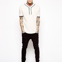 ASOS T-Shirt With Baseball Placket And Slubby Jersey - Ecru/navy
