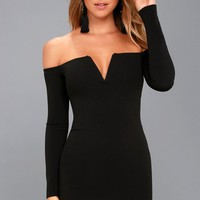 Over the Swoon Black Off-the-Shoulder Bodycon Dress