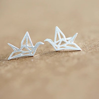 925 sterling silver Origami earrings women's silver Origami earring for gift