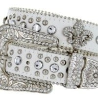 Western Cowgirl Fleur De Lis Bling Belt with Rhinestone Studded Buckle and Strap (40, White)