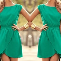 O-neck High Waist Split Mini Dress