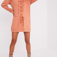 Bexie Deep Peach Lace Up Hooded Sweater Dress - Dresses - PrettylittleThing US   PrettyLittleThing.com