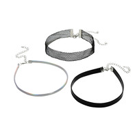 Mesh Iridescent Black Faux Leather Choker Set
