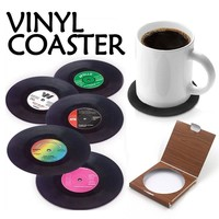 6 Pcs/set Home Table Cup Mat Creative Decor Coffee Drink Placemat Spinning Retro Vinyl CD Record Drinks Coasters 301-0460