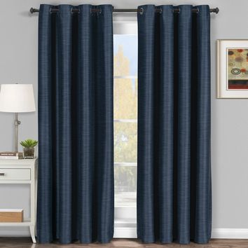 Navy Galleria Blackout Thermal Coating Tonal Stripe Window Grommet Curtain (Single Panel)