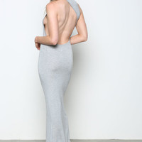 HEATHER GRAY ASYMMETRICAL RACERBACK MAXI DRESS