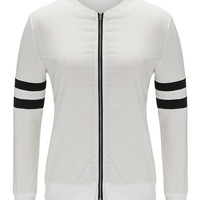 White Contrast Stripe Detail Bomber Jacket
