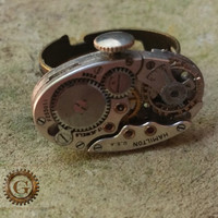 Steampunk Ring, Steam Punk Ring, Watch Movement Ring, Steampunk Jewelry, Steampunk Accessory, Watch Movement Jewelry, Hamilton Watch Ring
