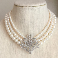 Audrey Hepburn Inspired Pearl Silver Crystal Brooch Necklace- n785