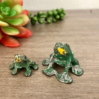 Rustic Miniature Metal Frogs for Fairy Garden, Miniature Garden Accessories, Tiny Lead Toad Figurine, Shadow Box Collectors