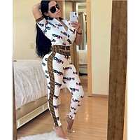 FENDI New Women Casual Shorts Sleeve Top Pants Trousers Set Two-Piece Sportswear White