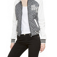 Quilted Varsity Jacket with Hoodie and NY Graphic