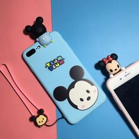 Lovely cartoon Lanyard couple mobile phone case for iPhone X 7 7plus 8 8plus iPhone6 6s plus -171110