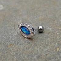 Fire Opal Cartilage Earring Blue with Rhinestones 16ga Tragus Helix 316L Surgical Stainless Steel