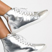 COOPER-12-9-4 High Top Sneakers Women Fashion Sneakers SILVER Bare Feet Shoes