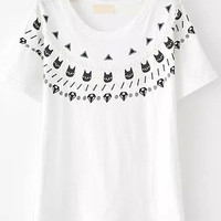 White Short Sleeve Beaded Cats Print Graphic T-shirt