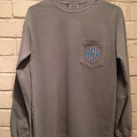 Monogrammed Comfort Color Long Sleeve Pocket T-Shirt