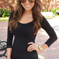 The Softest 3/4 Sleeve Top: Black