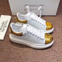Alexander Mcqueen 2020 Hot Sale Woman lace up low top boots Leisure Sport Shoes Sneakers top quality white gold