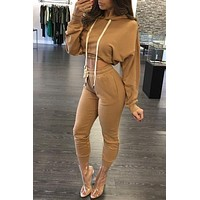 Women Jumpsuit Romper 2016 Autumn Hooded Playsuits Ankle Length Long Sleeve Two Pieces Overalls Outfits