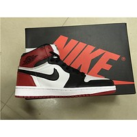 Air Jordan 1 white black red Basketball Shoes 36-47