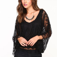 SHEER LACE PONCHO TOP
