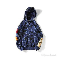 High Street Men's Red Blue Purple Camo Hoodies Sweater Hedging Cardigan Shark Hooded Sweatshirts Hoodies For Men Women Camouflage Hoodie