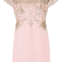 Marchesa Notte - Metallic embroidered tulle and stretch-silk dress