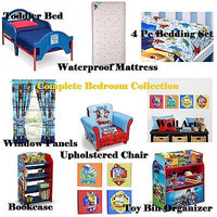 Kids,Toddler Complete Bedroom Furniture 4 Piece Bedding Set w Mattress