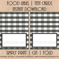 Printable Food Label Tent Cards Buffalo Check Christmas, Holiday & All Occasion by SUNSHINETULIPDESIGN