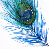 40% Off SALE - Feather Watercolor - Peacock Feather I - Bird Painting - Bright Color - 13x19 Giclee Print - Wall Art - Watercolor Painting -