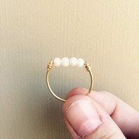 Gold and White Beaded Ring