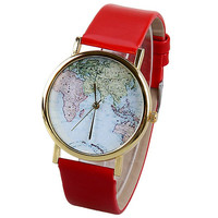 Red Vintage Map Watch