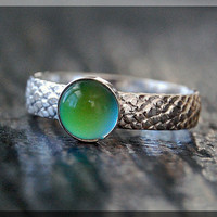 Mood Ring, Sterling Silver Stacking Ring, Snake Skin Textured Ring, Stackable Color Changing Ring, Mood Stacking ring, Psychedelic Mood Ring