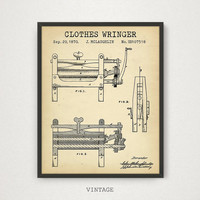 Laundry Decor, Clothes Wringer Patent Art Print, Digital Download Blueprint Art, Laundry Prints, Laundry Poster Art, Vintage Clothes Wringer